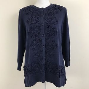 Isaac Mizrahi Cardigan Sweater Blue Floral S New